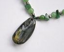 NZ Greenstone necklace~ flower jade pendant