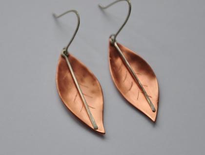 Leaf earrings in Copper & sterling silver