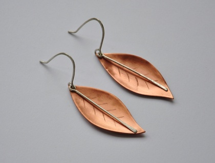 Leaf earrings in Copper & sterling silver