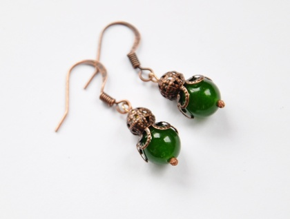 Nephrite Jade & copper earrings