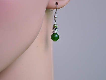 Nephrite Jade & silver earrings
