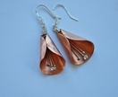 Copper Lily & sterling silver earrings