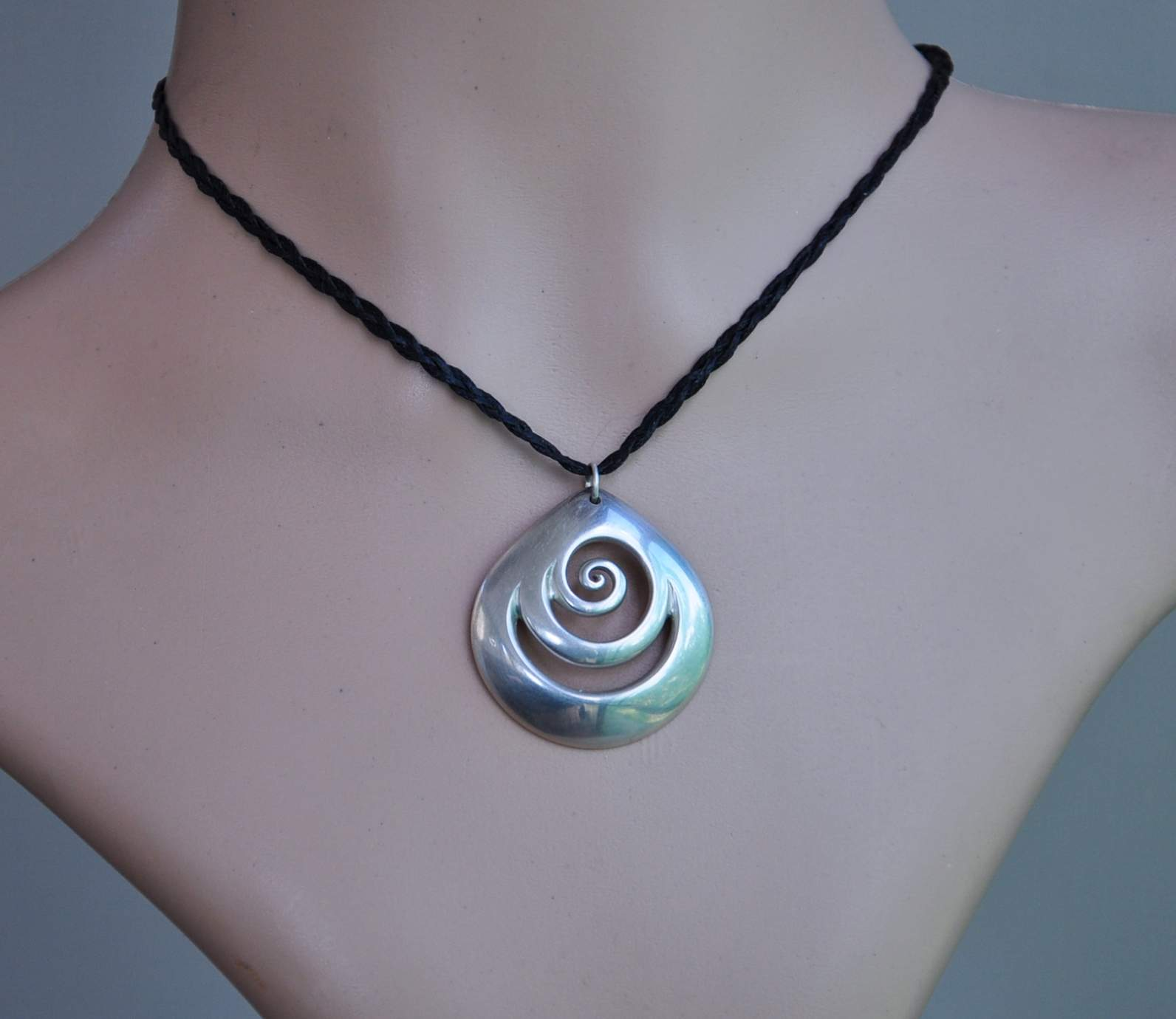 pendant product double necklace therese circle koru silver design sonia