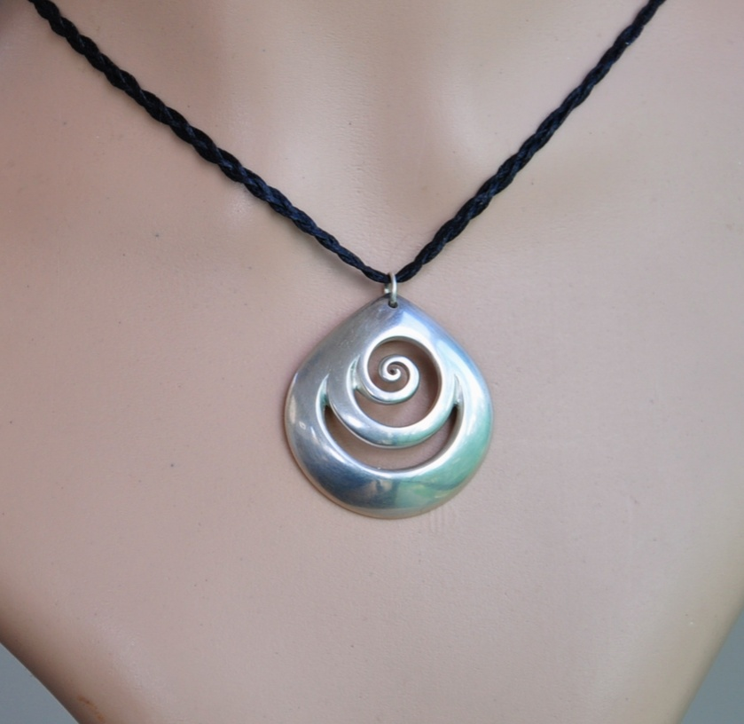 Sterling Silver 925  Koru Pendant on black plaited cord