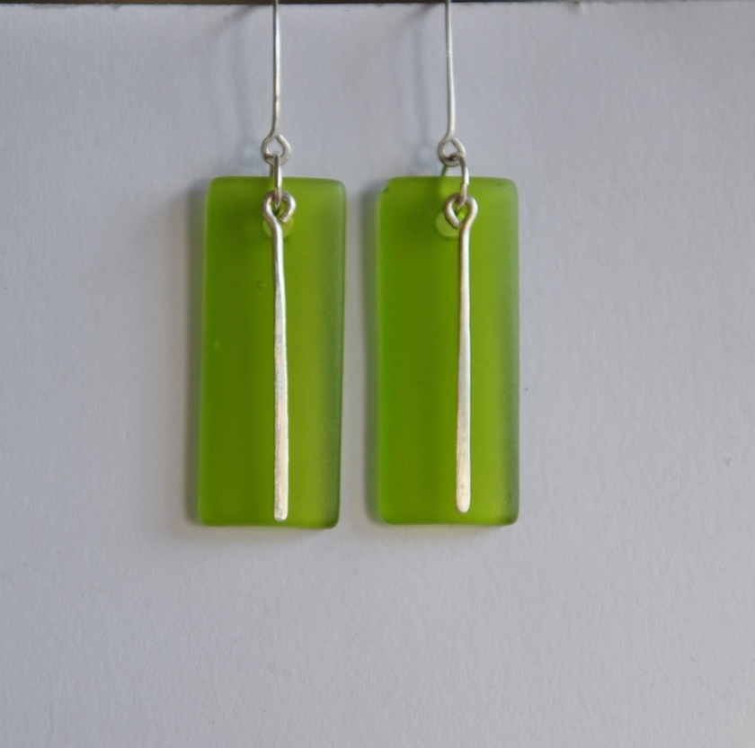 Green Sea Glass and sterling silver earrings