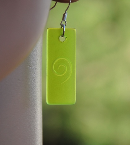 Green Sea Glass Koru engraved earrings