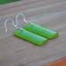 Green Sea Glass Koru engraved earrings