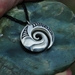 Sterling silver Wave Koru Pendant on black adjustable cord~Ocean lovers pendant