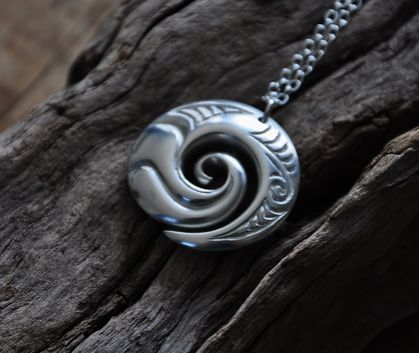 Sterling silver Wave Koru Pendant on sterling silver chain