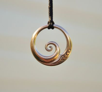Solid bronze Wave Pendant ~koru design