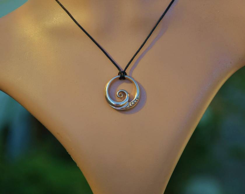 Solid bronze Wave Pendant ~koru design