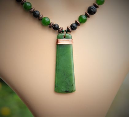 New Zealand Greenstone Pounamu necklace~with Copper binding and Lava beads