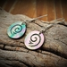 Paua & Sterling Silver Koru earrings~hand carved and engraved Maori koru