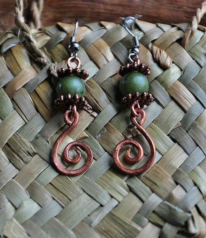 Antique copper jade earrings Felt