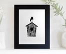 Robin on Birdhouse Original Letterpress Print A3