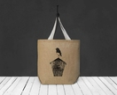Robin on Birdhouse Oversized Tote Bag