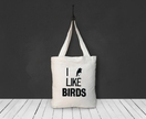 I Like Birds Cotton Canvas Tote Bag