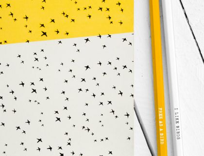 Large Flying Birds Pattern Yellow Notebook