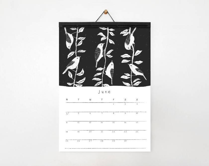 2018 A4 Illustrated Birds Eco-Friendly Wall Calendar