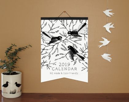 •Sale• Black and White Illustrated A3 Eco-Friendly Calendar - Paper Binding