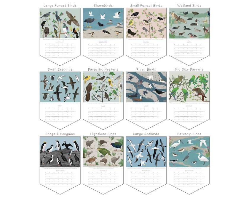 •Sale• Birds of NZ A3 Eco-Friendly Calendar - Paper Binding