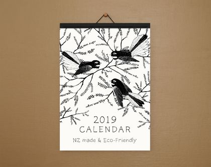 •Sale• Black and White Illustrated A4 Eco-Friendly Calendar - Paper Binding