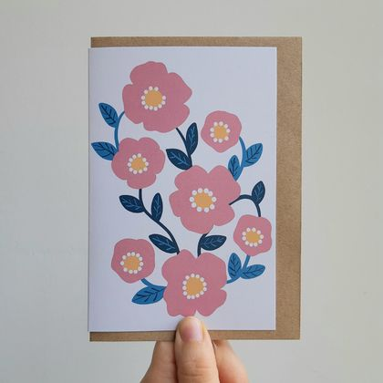 Pink & Turquoise Flowers Gift Card