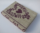Cross Stitch A6 Journal & Cover - Purple Floral Heart