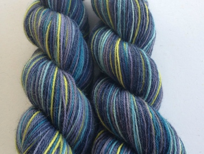 'Meridian' Hand dyed self striping Alpaca, Merino and Nylon sock 4ply