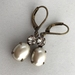 """""""Vintage Bling"""" - earrings - vintage glass pearl oval stones with Swarovski crystals"""