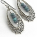"""""""Gypsy Girl"""" - earrings - antique silver oval filigree hoops with marbled green/purple Czech glass rondelles"""
