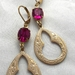 """""""Vintage Glam"""" - earrings - vintage fuchsia pink Swarovski stones with frosted gold drops"""