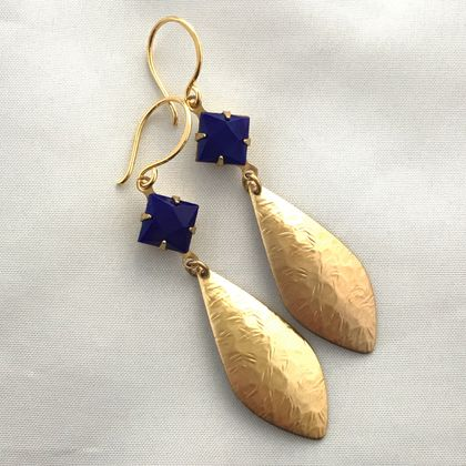 """Vintage Glam"" - earrings - opaque square blue glass vintage stones with raw brass textured drops"