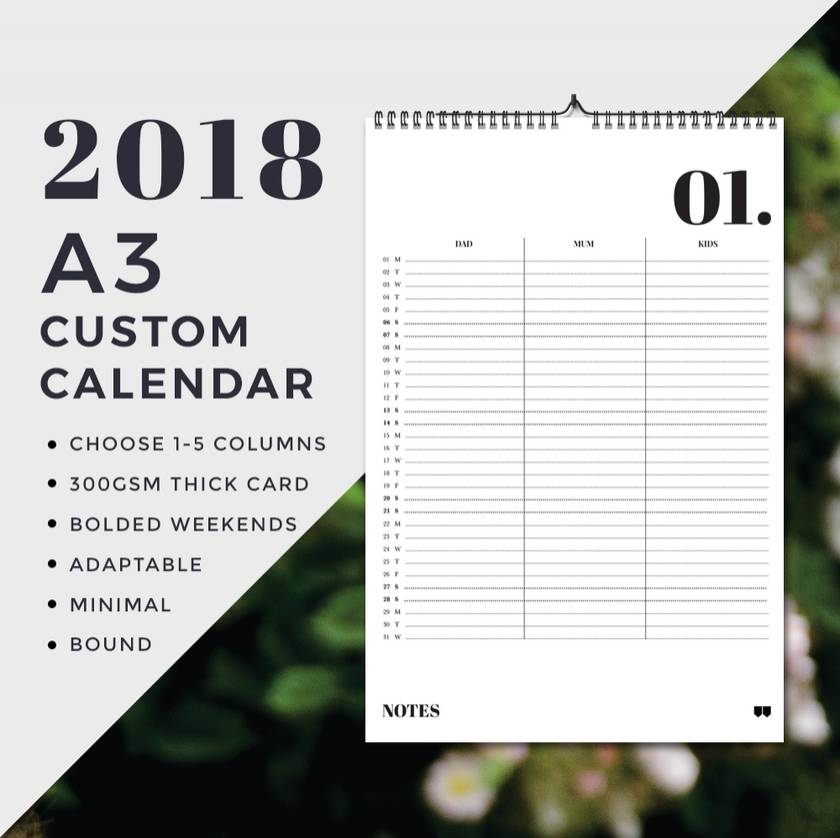 2018 Wall Planner - A3 Version