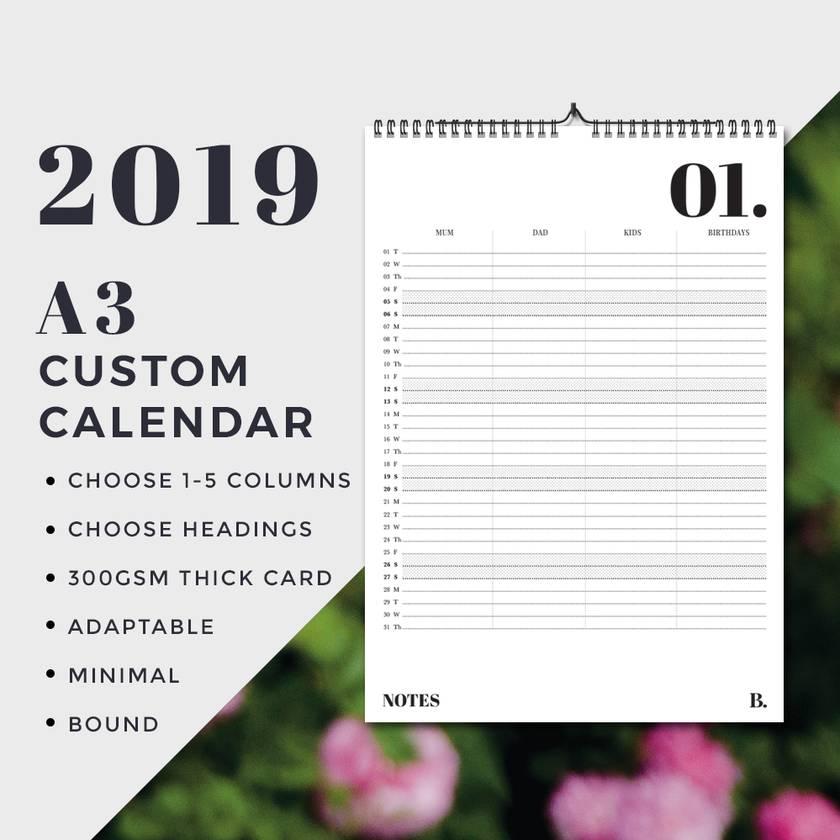 2019 Wall Planner - A3 Version PRE ORDER