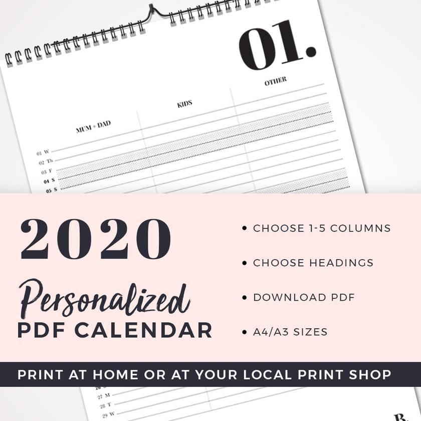 Personalized Minimal Calendar (PDF Version)
