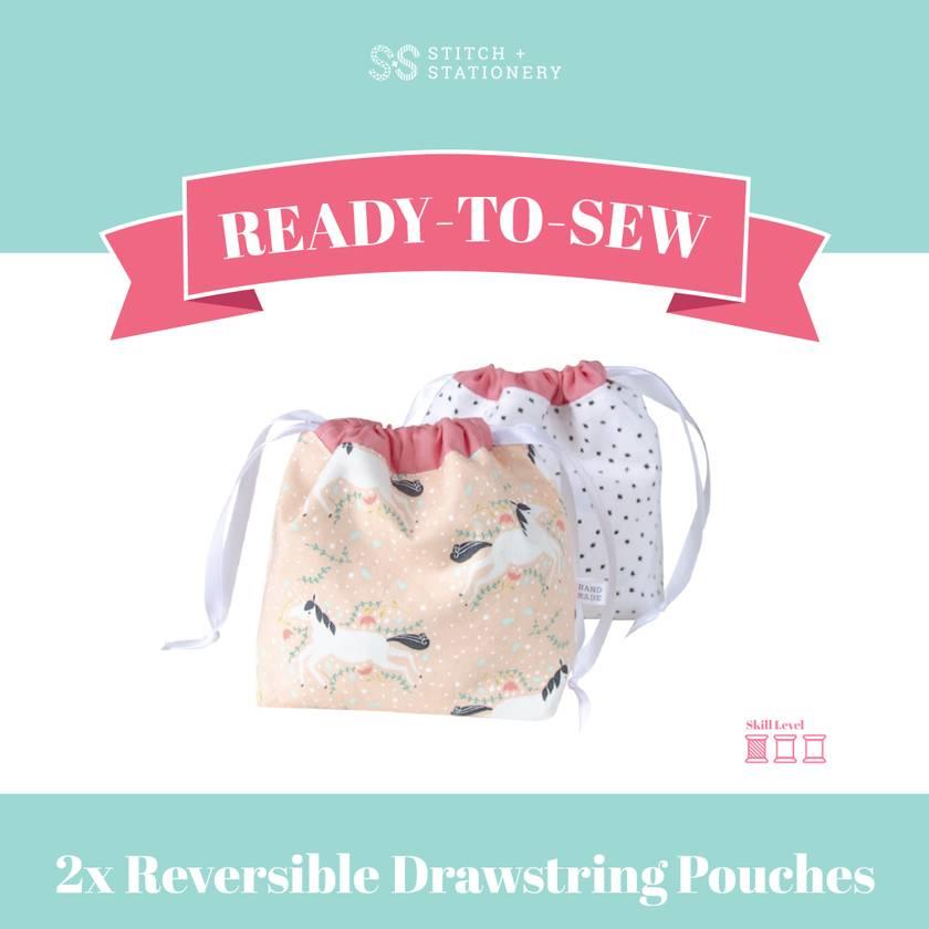 Ready-To-Sew Kit (Reversible Boxed Drawstring Pouches)