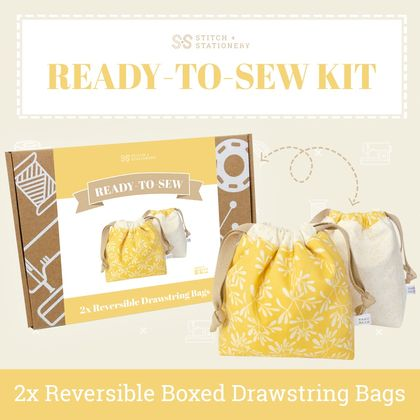 Ready-To-Sew Kit (Reversible Boxed Drawstring Pouches)