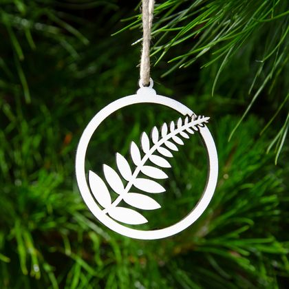 New Zealand Fern Wooden Christmas Tree Decoration