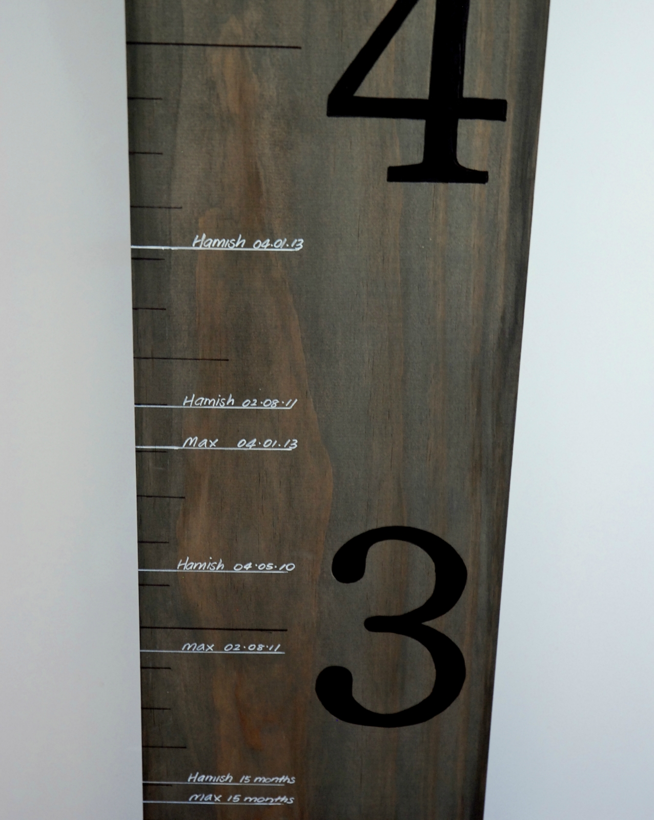 Wooden ruler growth chart felt