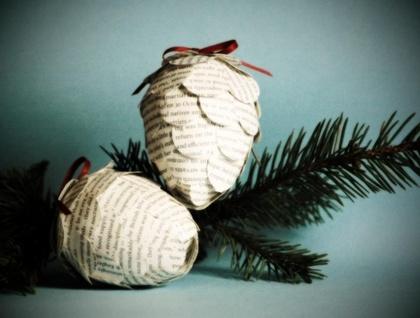 Vintage Paper Pine Cone Decoration