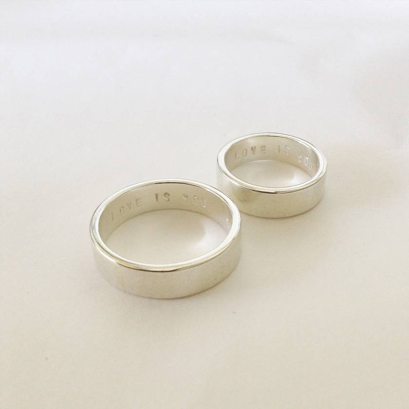 Simple 5mm Personalised Wedding Band Set