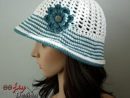 SALE! Designer Summer Crochet Cotton Sun Hat - Cream with Blue ... 422acaad7dcf