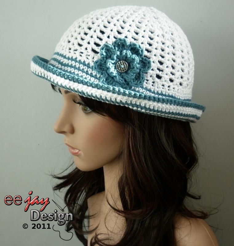 Designer Summer Crochet Cotton Sun Hat - Cream with Blue Stripes. Next f267d28b6e93