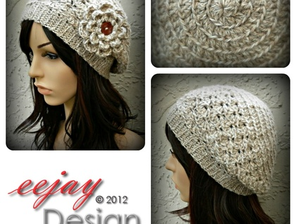 fa136561d7120 Merino   Alpaca Winter Lace Slouchy Beret in Natural Fawn - NZ DESIGNER!