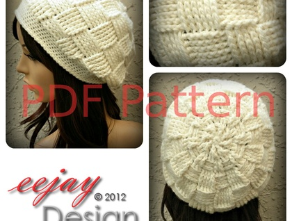 Crochet Womens Basketweave Slouchy Beret Pattern PDF