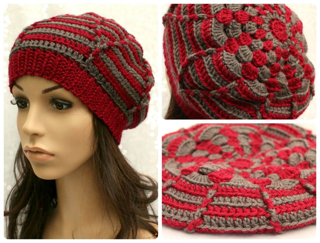 Free Crochet Hat Patterns Nz : Crochet Womens Striped Abstract Flower Beret Pattern PDF ...