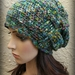 Chunky Oversized Woven Gather Slouch Beanie - Multicolour