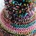 Wool Blend Chunky Crochet Beanie with Pompom  - Multicolour