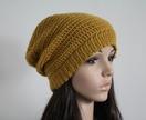 100% Wool Crochet Unisex Oversized Beanie - MUSTARD